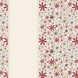 Carte d'invitation avec les fleurs rouges et beiges Illustration de vecteur Images stock
