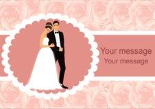 Carte d'invitation avec les jeunes mariés Images libres de droits