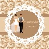 Carte d'invitation avec les jeunes mariés Image stock