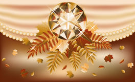 Carte d'invitation d'automne avec la pierre gemme précieuse Image libre de droits