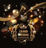 Carte d'invitation d'ouverture officielle avec le ruban de scintillement abstrait d'or Photo stock