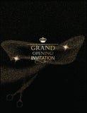 Carte d'invitation d'ouverture officielle avec les ciseaux et le ruban abstraits Photo stock