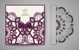 Carte d'invitation de coupe de laser Modèle de coupe de laser pour la carte de mariage d'invitation Vecteur Photo libre de droits