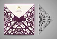 Carte d'invitation de coupe de laser Modèle de coupe de laser pour la carte de mariage d'invitation Vecteur illustration libre de droits