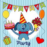 Carte d'invitation de fête d'anniversaire ou carte de voeux Un chien de bande dessinée avec un gâteau et un bouquet des fleurs, b Photos libres de droits