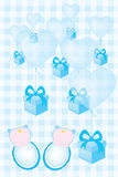 Carte d'invitation de fête de naissance pour les garçons de bébés jumeaux Photographie stock libre de droits