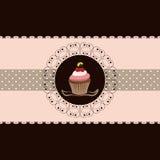 Carte d'invitation de gâteau de cerise illustration stock
