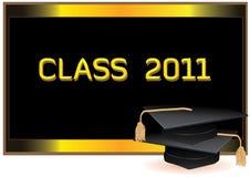 Carte d'invitation de graduation avec des mortiers Photo libre de droits
