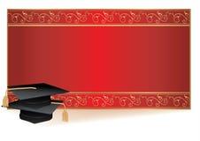 Carte d'invitation de graduation avec des mortiers Photographie stock libre de droits