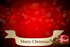 Carte d'invitation de Joyeux Noël avec le fond rouge de bokeh, les branches vertes, le boîte-cadeau rouge et les boules rouges de illustration libre de droits