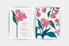 Carte d'invitation de mariage d'Alstroemeria La composition de vecteur du rose fleurit l'illustration Faire gagner la datte Alstr Image stock