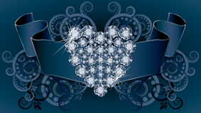 Carte d'invitation de mariage avec le ruban et le diamant il Photos stock