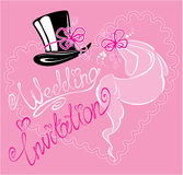 Carte d'invitation de mariage avec le voile de mariage Image libre de droits