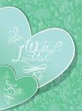 Carte d'invitation de mariage avec les coeurs et le texte calligraphique Photos libres de droits