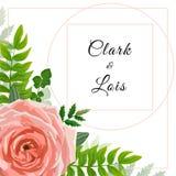 Carte d'invitation de mariage Beau calibre Le design de carte avec la fleur rose, fougères de verdure de forêt, usines, vert part Images stock