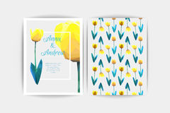 Carte d'invitation de mariage Illustration de tulipe de fleur de composition en vecteur basse poly Faire gagner la datte Fond flo Photos libres de droits