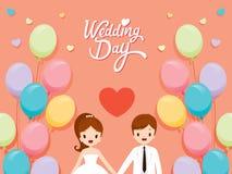 Carte d'invitation de mariage, jeune mariée, marié And Balloons Photographie stock libre de droits