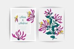 Carte d'invitation de mariage La composition de vecteur du rose fleurit l'illustration Faire gagner la datte Fond floral Photos stock