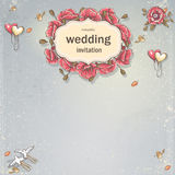 Carte d'invitation de mariage pour votre texte sur un fond gris avec des pavots, des ballons, des colombes et des feuilles d'auto illustration de vecteur