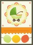 Carte d'invitation de poussette de fête de naissance Images libres de droits