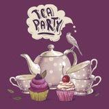 Carte d'invitation de thé avec un petit gâteau et un pot Photo stock