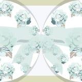 Carte d'invitation de vintage avec les roses et l'arc d'aquarelle Image libre de droits