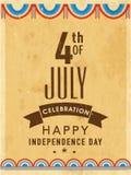 Carte d'invitation de vintage pour le Jour de la Déclaration d'Indépendance américain Photos stock