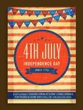 Carte d'invitation de vintage pour le Jour de la Déclaration d'Indépendance américain Image libre de droits