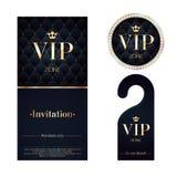 Carte d'invitation de VIP, cintre d'avertissement et insigne Photographie stock
