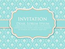 Carte d'invitation et d'annonce de mariage avec l'illustration de fond de vintage Fond fleuri élégant de damassé illustration libre de droits