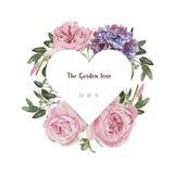 Carte d'invitation, modèle de fleurs et label floraux romantiques de coeur Photos stock