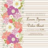 Carte d'invitation ou d'annonce de mariage avec de belles fleurs tirées par la main illustration stock