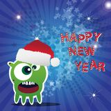 Carte d'an neuf heureux avec le monstre Image stock