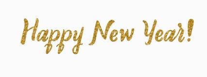 Carte d'an neuf heureux Calligraphie moderne de scintillement tiré par la main Illustration d'encre Bonnes fêtes Bannière avec de photos libres de droits
