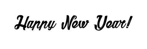 Carte d'an neuf heureux Calligraphie moderne tirée par la main Illustration d'encre Bonnes fêtes Bannière avec des mots tirés par illustration de vecteur