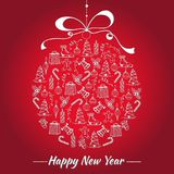 Carte d'an neuf heureux Jouet de Noël avec les icônes peintes à la main de Noël Photo stock