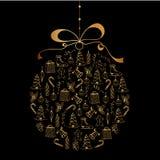 Carte d'an neuf heureux Jouet de Noël avec les icônes peintes à la main de Noël Photo libre de droits
