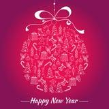 Carte d'an neuf heureux L'année représentée dans le style peint à la main Jouet de Noël avec les icônes peintes à la main de Noël Image stock