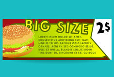 Carte d'offre d'hamburger Prêt-à-manger illustration stock