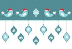 Carte d'oiseaux de Noël Photographie stock libre de droits