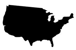 Carte d'ombre des Etats-Unis Photo libre de droits