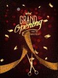Carte d'ouverture officielle avec des ciseaux de ruban et d'or d'abrégé sur or Image libre de droits