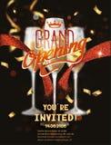 Carte d'ouverture officielle avec le ruban abstrait rouge et verres avec le champagne Images stock