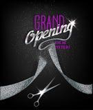 Carte d'ouverture officielle avec le ruban et les ciseaux argentés abstraits Photo stock