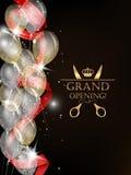 Carte d'ouverture officielle avec les confettis brillants, le ruban rouge et les ballons à air Photos libres de droits