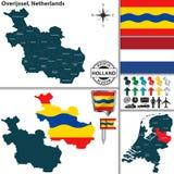 Carte d'Overijssel, Pays-Bas Images libres de droits