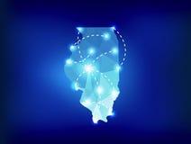 Carte d'état de l'Illinois polygonale avec des endroits de projecteurs Photos stock
