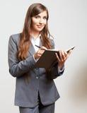 Carte d'ufficio della tenuta della donna di affari Modello femminile isolato Fotografia Stock Libera da Diritti