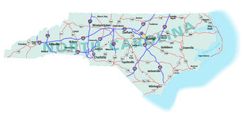 Carte d'un état à un autre d'état de la Caroline du Nord Images stock