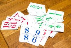Carte da gioco dei bambini con i numeri Immagini Stock Libere da Diritti